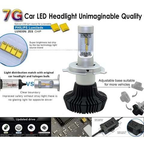 Car LED Headlamp Kit UP-7HL-9004W-4000Lm (9004, 4000 lm, cold white) Preview 2